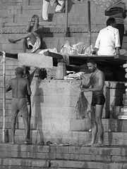 varanasi 2017 (gerben more) Tags: ghat people varanasi india benares hairychest handsomeman blackwhite man men monochrome