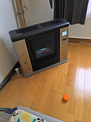 Warming up a Mikan (sjrankin) Tags: 14december2018 edited fruit orange mandarin mandarinorange mikan floor heater livingroom kitahiroshima hokkaido japan hdr