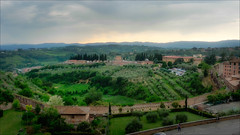 View from the Siena Hotel room at Dusk (kate willmer) Tags: landscape trees grass green building architecture town siena tuscany italy