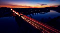 Hazy nights (Jim Nix / Nomadic Pursuits) Tags: jimnix nomadicpursuits austin pennybackerbridge loop360 loop360bridge bridge longexposure sunset bluehour lakeaustin sonya7ii sony wideangle luminar2018 skylum 1635mm