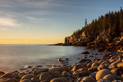 Morning stones (V) (DJM Photos) Tags: acadia maine newengland water ocean sea atlantic shore shoreline coast coastline beach boulder rock stone cliff morning sunrise fall autumn outdoors outside landscape