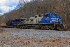 NS U47 with an interesting set of power coming from Wentz. (Railroad Gal) Tags: norfolksouthern norfolksouthernappalachiadistrict norfolksouthernclinchvalleysub nsu47 ns4000 ns8103 norfolkandwestern heritageunit fallenflag nw es44ac ac44c6m dctoac railroad railfanning femalerailfan appalachianmountains appalachian wisecountyva appalachiava southwestva va vaisforlovers diesellocomotive locomotives foliage winter landscape generalelectric sonicbonnet blue train coaltrain