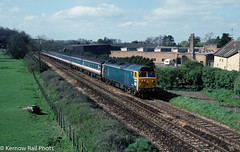 D400 at Sherborne in 1991 (Kernow Rail Phots) Tags: d400 50050 fearless class50 br britishrail sherborne 1441991 yeoviljunction waterloo sunday 14th april 1991 1990s tarin trains railway railways railroad scenic sunny trees bluesky buildings hoover passengertrain mk2 coaches nse networksoutheast