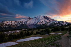 Mount Rainier National Park (Nature1844 Photography) Tags: mountrainiernationalpark sunrise cascades mountains montagna montagne mountainscape volcano volcanic snow snowcapped sky clouds himmel cielo cloudscape skyscape sunset bluehour evening twilight pink blue ambience atmosphere mood magical light lumiere landscape landschaft landschaftbilder paysage outdoors landforms nature natur naturaleza naturephotography scenery scenic vista colors colorful hues shadows trees trail hiking pasqueflower westernanemone wildflowers absolutegoldenmasterpiece paisaje cool cold path high adventure artistic outside national happy flowers painterly beauty greatphotographers