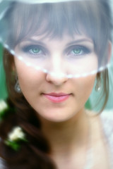 Bride with green eyes (hoboton) Tags: bride love wedding marriage ceremony moment caucasian young girl woman married romance feelings closeup closeness dream expression light smiling white darkpurple green eyes mystical sight enchanting magical charm veil