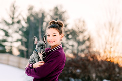 (Rebecca812) Tags: girl portrait puppy dogs pets cute frenchie frenchbulldog winter snow otudoors sunset lensflare trees sunlight adorable beauty canon people portraits affectionate embrace friendship love bonding togetherness 11 child tween small babyanimals animal animalthemes lifestyles candid hairbun outdooors
