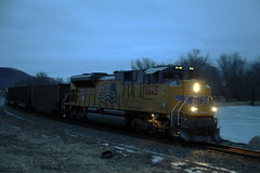 UP 8645 (Western WI Rail Images) Tags: up union pacific coal train snow rain dark tress rocks grass water ice clouds emd sd70ace