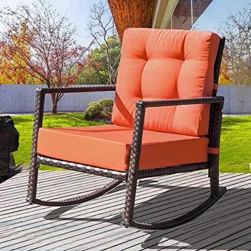 Merax. Cushioned Rattan Rocker Chair Rocking Armchair Chair Outdoor Patio Glider Lounge Wicker Chair Furniture with Cushion (Orange) Review
