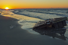 That Thing On The Beach (matthewkaz) Tags: dock wreckage ocean atlanticocean water waves sand beach coast coastline shore shoreline sunrise clouds reflection reflections kiawah kiawahisland debris washedup sc southcarolina 2017