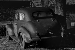 "Phillip Marlowe's Trade-in (hutchphotography2020) Tags: oldcar rusted usedcar blackandwhite filmnoir nikon ""nikonflickraward"""