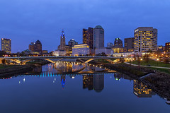 Columbus Ohio (Simone Gramegna) Tags: ohio columbus bluehour america usa reflections reflection scioto sciotoriver river leveque levequetower tower city cityscape cityview skyscape skyscrapers skyline building landscape landmark water grass green park outdoor