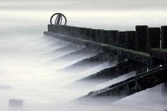 The Last Gang in Town (PeskyMesky) Tags: aberdeen longexposure scotland aberdeenbeach water sea ocean groyne mist canon canon5d eos