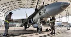 F-18 Ala 15 (Ejército del Aire Ministerio de Defensa España) Tags: aviación aviation militar military fuerzaaérea ejércitodelaire airforce f18 hornet avión fighter caza ala15 hangar mecánico