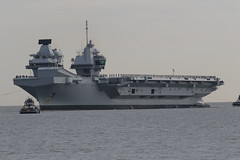 """All hands man deck stations"" (roger_forster) Tags: hmsqueenelizabeth r08 aircraftcarrier rn royal navy the solent sea englishchannel"