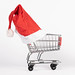 Christmas hat on shopping cart