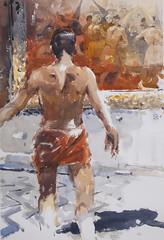 """Ready for Goya"" -watercolour (toni belobrajdic) Tags: goya figure figurative man"