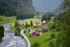 Flam, Aurland, Norway (Seventh Heaven Photography *) Tags: flam aurland norway grass trees water coastline hills houses buildings nikon d3200 valley mountains river bridge fields road landscape aurlandfjord aurlandfjorden