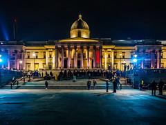 National Gallery (deepaqua) Tags: night nationalgallery museum protest london trafalgarsquare street