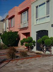Sunset District // San Francisco (bior) Tags: pentax645nii pentax645 pentax 645 kodakfilm kodak kodaklumiere lumiere slidefilm mediumformat 120 sanfrancisco sunsetdistrict house home rowhouse townhouse bush shrub
