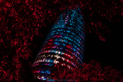 MIG00867SR (miquelmigg) Tags: agbar tower night lights red blue office tree lookup barcelona