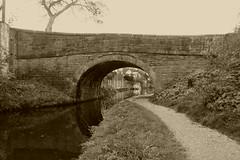 Bridge No26, Disley.   (Peak Forest Canal) October 2018 (dave_attrill) Tags: peakforest canal disley bridge redhouselane towpath peakdistrict cheshire october 2018 sepia monochrome