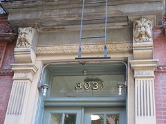 Horned Grimacing Gargoyle Creature Above Doorway 4611 (Brechtbug) Tags: scroll face greenman gargoyle above doorway building facade 8th avenue west 21st street nyc 11112018 new york city midtown manhattan 2018 gargoyles portraits monster portrait monsters creature faces spooky art architecture sculpture keystone mask brownstone brown stone capital fall winter autumn creeped out scrolling mustache