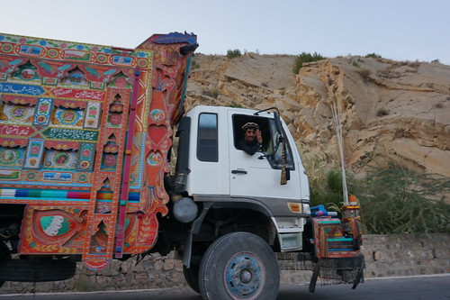 A truck driver waits to be checked by Pakistani soldiers. North Waziristan, Pakistan's tribal areas.