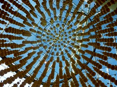 Golden Balls (Heaven`s Gate (John)) Tags: christmas decoration shopping mall birmingham england display golden balls skylight blue sky sunshine perspective johndalkin heavensgatejohn bullring circles art architecture modern 10faves