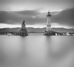 Lindau Hafen (wolffslicht) Tags: lindau harbour lakeconstance bodensee bayern swbw nblongtimeexposure nd3filter water sky outdoor fineart