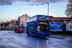 Head to head competition (mangopearuk) Tags: uk unitedkingdom england hampshire southampton woolston publictransport transit publictransit bus buses singledecker red doubledecker blue