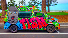 TISM Camper Van - ' I'm on the Drug That Killed River Phoenix', Victor Harbor, South Australia (Strabanephotos) Tags: tism camper van victor harbor south australia hell never be an ol man river im on drug that killed phoenix