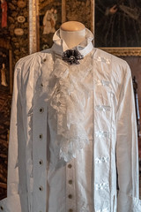Mans costume made of paper with lace cravat (Carol Spurway) Tags: 2018 nt blickling dress table lady christmas outfit lace georgian blicklinghall costume suit diningroom woman man art artwork dining paper norfolk nationaltrust