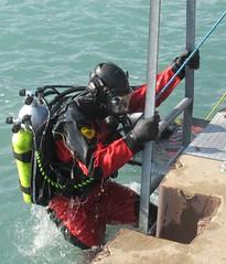 Ladder of success (chemsuiter) Tags: ladderfromthelake diver publicsafetydiver outofthewater scubateam dive interspiromask fullfacemask h