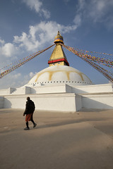 The Encounter (fredMin) Tags: nepal kathmandu boudhanath buddha buddhism stupa asia religion golden beauty prayer flag fujifilm xt2
