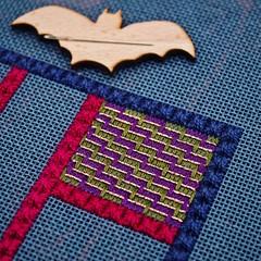 Victorian Step Stitch (GATACA1952) Tags: needlepoint needlepointer canvaswork dmc kreinik needlework handmade craft homedecor texture countedneedlepoint countedcanvaswork floss fibre fibreart blue debbierowley debbee'sdesigns neddleminder bat