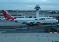 """VT-EVB, Boeing 747-437, 28095 / 1093, Air India, """"Velha Goa"""", ORY/LFPO 2018-11-09, taxiway Whisky 1, being towed to remote ramp. (alaindurandpatrick) Tags: vtevb 280951093 747 744 747400 boeing boeing747 boeing747400 jumbojets jetliners airliners ory lfpo parisorly airports aviationphotography ai airindia airlines"""