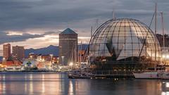 Genova, Bat-ferry & Skyline (FButzi) Tags: genova genoa liguria italy italia skyline matitone biosfera sfera di renzo piano lights ferry boat long exposure port reflections