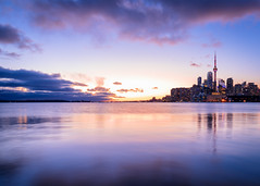 Sunset for Days (Brady Baker) Tags: toronto canada ontario lake harbourfron waterfront skyline cityscape urban water reflection calm peaceful serene majestic colorful sunset dusk golden cntower downtown buildings towers architecture city