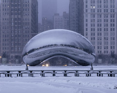 In the early hours (aerojad) Tags: eos canon 80d dslr 2019 winter january city urban chicago snow snowing snowscape outdoors thebean cloudgate millenniumpark skyscrapers skyscraper park reflections reflection