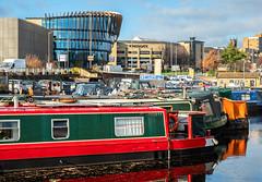 Huddersfield Beyond Aspley Wharf (Geoff France) Tags: landscape urbanlandscape canal canalbarge canalbasin huddersfieldcanal marina aspleymarina university huddersfielduniversity town city water