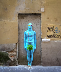 Work by Urbansolid in Florence (Tiigra) Tags: florence tuscany italy it 2014 city color funny graffiti iphone nude sculpture statue wall art