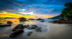 Phuket Sunset, Thailand (Darcey Prout) Tags: thailand asia beach sunset ship ocean hdr d800 phuket patong water waves color sun sea nikon 1424mm wide