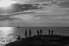 07) Noel O Neill - Anglers silhouette-1938 (killarneycameraclub) Tags: anglers fishermen silhouette killarneycameraclub monochrome photography