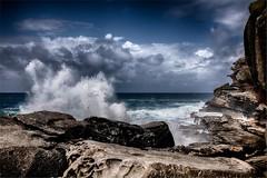 Walk To The Edge 2 (Peter Polder) Tags: australia beach bay clouds seascape sea sky landscape ocean rocks sydney skyline surf urban wave waves water z
