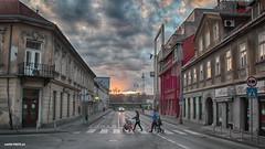 Walk on the street (malioli) Tags: street urban urbanex city cityscape town karlovacsky clouds house road people family karlovac croatia hrvatska europe canon dusk sunset