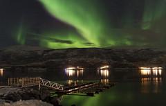 Floating in a Sea of Green (lunaryuna) Tags: norway northernnorway troms winter season seasonalwonders night nightlights nocturnal nightsky starrynight auroraborealis nordlichter northernlights green jetty fjord landscape longexposure lunaryuna
