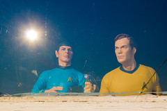 The Sun Sets on Kirk and Spock (boom_goes_the_canon) Tags: flare startrek actionfigure collectible collectibles sciencefiction spock kirk window sunset reflection dixonillinois
