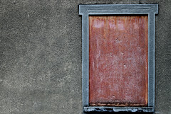 composition - 32 (Rino Alessandrini) Tags: wallbuildingfeature architecture old outdoors oldfashioned textured stonematerial weathered frame pattern buildingexterior dirty nopeople retrostyled window concrete walled rough gray red wall