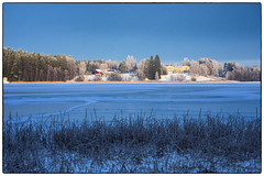 Blå time - Gul bygning (Krogen) Tags: norge norway norwegen akershus romerike ullensaker nordbytjernet krogen vinter winter landscape landskap olympusomd
