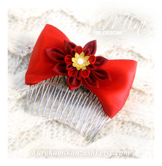 Mini Blossom (Kurokami) Tags: lindsay ontario canada kimono japan japanese asia asian woman women girl girls lady ladies traditional kitsuke tsumami kanzashi folded flower flowers floral hair ornament ornaments blossoms mini bow comb red bead cap faux pearl